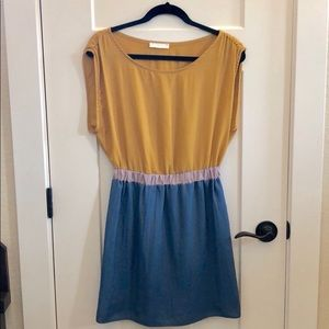 Lush Dresses - Lush Teal and Gold Color Block Dress